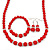 Bright Red Ceramic Bead Necklace, Flex Bracelet & Drop Earrings With Crystal Ring Set In Silver Tone - 44cm L/ 6cm Ext - view 8