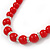 Bright Red Ceramic Bead Necklace, Flex Bracelet & Drop Earrings With Crystal Ring Set In Silver Tone - 44cm L/ 6cm Ext - view 9