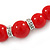 Bright Red Ceramic Bead Necklace, Flex Bracelet & Drop Earrings With Crystal Ring Set In Silver Tone - 44cm L/ 6cm Ext - view 4