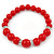 Bright Red Ceramic Bead Necklace, Flex Bracelet & Drop Earrings With Crystal Ring Set In Silver Tone - 44cm L/ 6cm Ext - view 5