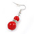 Bright Red Ceramic Bead Necklace, Flex Bracelet & Drop Earrings With Crystal Ring Set In Silver Tone - 44cm L/ 6cm Ext - view 6