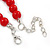 Bright Red Ceramic Bead Necklace, Flex Bracelet & Drop Earrings With Crystal Ring Set In Silver Tone - 44cm L/ 6cm Ext - view 7