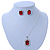 Red/ Clear Crystal Square Pendant with Silver Tone Chain and Stud Earrings Set - 44cm L/ 5cm Ext - view 2