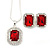 Red/ Clear Crystal Square Pendant with Silver Tone Chain and Stud Earrings Set - 44cm L/ 5cm Ext - view 8