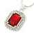 Red/ Clear Crystal Square Pendant with Silver Tone Chain and Stud Earrings Set - 44cm L/ 5cm Ext - view 6