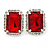 Red/ Clear Crystal Square Pendant with Silver Tone Chain and Stud Earrings Set - 44cm L/ 5cm Ext - view 7