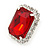 Red/ Clear Crystal Square Pendant with Silver Tone Chain and Stud Earrings Set - 44cm L/ 5cm Ext - view 5