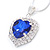Blue/ Clear Crystal Heart Pendant with Silver Tone Chain and Stud Earrings Set - 44cm L/ 6cm Ext - view 5