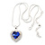 Blue/ Clear Crystal Heart Pendant with Silver Tone Chain and Stud Earrings Set - 44cm L/ 6cm Ext - view 3