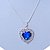 Blue/ Clear Crystal Heart Pendant with Silver Tone Chain and Stud Earrings Set - 44cm L/ 6cm Ext - view 7