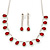 Bridal/ Wedding/ Prom Siam Red/ Clear Austrian Crystal Necklace And Drop Earrings Set In Silver Tone - 36cm L/ 11cm Ext - view 1