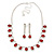 Bridal/ Wedding/ Prom Siam Red/ Clear Austrian Crystal Necklace And Drop Earrings Set In Silver Tone - 36cm L/ 11cm Ext - view 7
