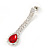 Bridal/ Wedding/ Prom Siam Red/ Clear Austrian Crystal Necklace And Drop Earrings Set In Silver Tone - 36cm L/ 11cm Ext - view 5