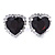 Black/ Clear Crystal Heart Pendant with Silver Tone Chain and Stud Earrings Set - 44cm L/ 6cm Ext - view 3
