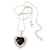 Black/ Clear Crystal Heart Pendant with Silver Tone Chain and Stud Earrings Set - 44cm L/ 6cm Ext - view 8