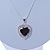 Black/ Clear Crystal Heart Pendant with Silver Tone Chain and Stud Earrings Set - 44cm L/ 6cm Ext - view 10