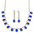 Bridal/ Wedding/ Prom Sapphire Blue/ Clear Austrian Crystal Necklace And Drop Earrings Set In Silver Tone - 36cm L/ 11cm Ext