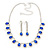 Bridal/ Wedding/ Prom Sapphire Blue/ Clear Austrian Crystal Necklace And Drop Earrings Set In Silver Tone - 36cm L/ 11cm Ext - view 7
