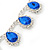 Bridal/ Wedding/ Prom Sapphire Blue/ Clear Austrian Crystal Necklace And Drop Earrings Set In Silver Tone - 36cm L/ 11cm Ext - view 3