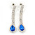Bridal/ Wedding/ Prom Sapphire Blue/ Clear Austrian Crystal Necklace And Drop Earrings Set In Silver Tone - 36cm L/ 11cm Ext - view 6