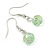 Light Green Shell & Crystal Floating Bead Necklace & Drop Earring Set - 52cm L/ 5cm Ext - view 8