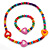 Children's Multicoloured Heart Wooden Flex Necklace & Flex Bracelet Set