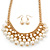 Gold Plated Cream Faux Pearl Bib Necklace and Drop Earrings Set - 40cm L/ 8cm Ext - view 1