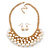 Gold Plated Cream Faux Pearl Bib Necklace and Drop Earrings Set - 40cm L/ 8cm Ext - view 6