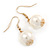 Gold Plated Cream Faux Pearl Bib Necklace and Drop Earrings Set - 40cm L/ 8cm Ext - view 8