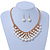 Gold Plated Cream Faux Pearl Bib Necklace and Drop Earrings Set - 40cm L/ 8cm Ext - view 2