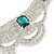Bridal, Wedding, Prom Clear/ Emerald Green Austrian Crystal Layered Necklace and Stud Earrings Set In Silver Tone - 36cm L/ 6cm Ext - view 3