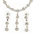 Delicate Bridal Simulated Pearl/ Crystal Floral Y-Necklace & Drop Earring Set In Silver Metal - 39cm L/ 12cm Ext - view 2