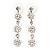 Delicate Bridal Simulated Pearl/ Crystal Floral Y-Necklace & Drop Earring Set In Silver Metal - 39cm L/ 12cm Ext - view 6