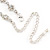Delicate Bridal Simulated Pearl/ Crystal Floral Y-Necklace & Drop Earring Set In Silver Metal - 39cm L/ 12cm Ext - view 8