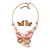 Romantic Glass, Crystal Pastel Gold/ Pink Butterfly Necklace & Stud Earrings In Gold Tone Metal - 40cm L/ 8cm Ext - Gift Boxed - view 6
