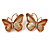 Romantic Glass, Crystal Pastel Gold/ Pink Butterfly Necklace & Stud Earrings In Gold Tone Metal - 40cm L/ 8cm Ext - Gift Boxed - view 8