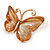 Romantic Glass, Crystal Pastel Gold/ Pink Butterfly Necklace & Stud Earrings In Gold Tone Metal - 40cm L/ 8cm Ext - Gift Boxed - view 5