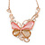 Romantic Glass, Crystal Pastel Gold/ Pink Butterfly Necklace & Stud Earrings In Gold Tone Metal - 40cm L/ 8cm Ext - Gift Boxed - view 9