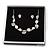 Delicate Pastel Pink/ Grey Matt Enamel Leaf Necklace & Stud Earrings In Silver Tone Metal - 40cm L/ 8cm Ext - Gift Boxed - view 3