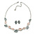 Delicate Pastel Pink/ Grey Matt Enamel Leaf Necklace & Stud Earrings In Silver Tone Metal - 40cm L/ 8cm Ext - Gift Boxed - view 5