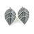 Delicate Pastel Pink/ Grey Matt Enamel Leaf Necklace & Stud Earrings In Silver Tone Metal - 40cm L/ 8cm Ext - Gift Boxed - view 6