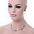 Delicate Pastel Pink/ Grey Matt Enamel Leaf Necklace & Stud Earrings In Silver Tone Metal - 40cm L/ 8cm Ext - Gift Boxed - view 2