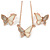 Clear Austrian Crystal Cream Enamel Butterfly Pendant with Rose Gold Tone Chain and Stud Earrings Set - 41cm L/ 4cm Ext - Gift Boxed