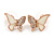 Clear Austrian Crystal Cream Enamel Butterfly Pendant with Rose Gold Tone Chain and Stud Earrings Set - 41cm L/ 4cm Ext - Gift Boxed - view 6