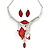 Romantic Glass, Crystal Red Leaf V Shape Necklace & Stud Earrings In Silver Tone Metal - 40cm L/ 8cm Ext - Gift Boxed