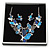 Romantic Glass, Crystal Blue Butterfly V Shape Necklace & Drop Earrings In Silver Tone Metal - 40cm L/ 8cm Ext - Gift Boxed - view 2