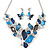 Romantic Glass, Crystal Blue Butterfly V Shape Necklace & Drop Earrings In Silver Tone Metal - 40cm L/ 8cm Ext - Gift Boxed