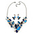 Romantic Glass, Crystal Blue Butterfly V Shape Necklace & Drop Earrings In Silver Tone Metal - 40cm L/ 8cm Ext - Gift Boxed - view 4