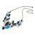 Romantic Glass, Crystal Blue Butterfly V Shape Necklace & Drop Earrings In Silver Tone Metal - 40cm L/ 8cm Ext - Gift Boxed - view 8