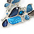 Romantic Glass, Crystal Blue Butterfly V Shape Necklace & Drop Earrings In Silver Tone Metal - 40cm L/ 8cm Ext - Gift Boxed - view 5